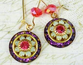 Violet Orange Rhinestone Earrings Swarovski Amethyst Pacific Opal Rhinestone Beveled Rondelle Disk Drop Earrings Bridesmaid Jewelry