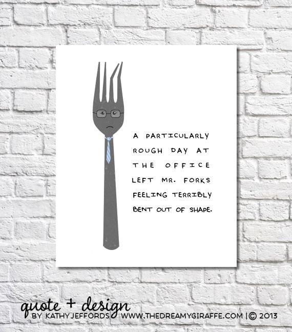 Funny Kitchen Print Fork Art Quirky Kitchen Artwork Utensils