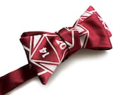 """d20 dice bow tie. Dungeons & Dragons inspired rpg gift, burgundy red and more. """"20 Sided Tie,"""" silkscreen print. Polyhedral dice."""