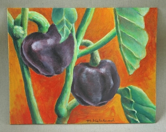 "Purple Pepper Original Acrylic Painting 8"" x 10"""