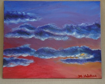 "Sunset Through the Clouds Original Acrylic Painting 8"" x 10"""