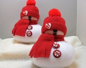 SNOWMAN DECORATION Set of 2, Snowman Ornament, Christmas Decoration, Christmas Ornament, Stuffed Snowman, Fleece Snowman, Red
