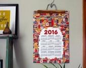 2016 wall calendar-13 x 19 poster-tiki edition