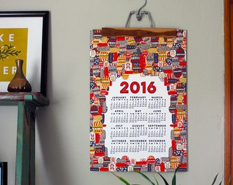 SALE - 2016 wall calendar-13 x 19 poster-tiki edition