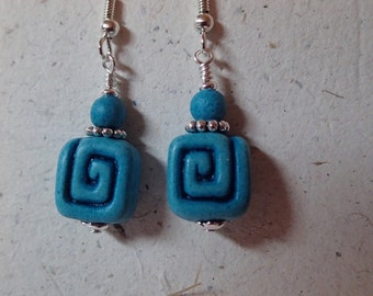 Greek Key Design Ceramic Bead Earrings Turquoise on silver
