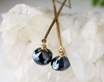 gold black earrings, black spinel and brass earrings, skinny gold earrings, long gold earrings