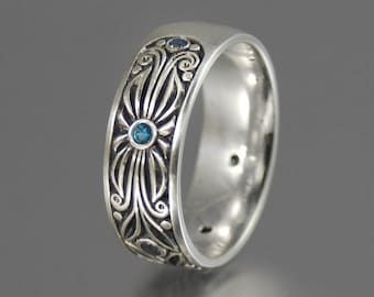 The COUNT silver and London Blue Topazes wedding band