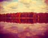 Wisconsin Landscape Photography, Fall Landscape Art, Nature, Fall Foliage, Warm Tones, Colorful River Photography, Nature Wall Art