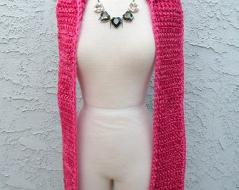 Princess Bubblegum Pink Hooded Scarf - Bright Fuchsia Scoofie w/ Tassels - Crocheted Vegan Friendly Acrylic Yarn, Cowl Hat, READY TO SHIP