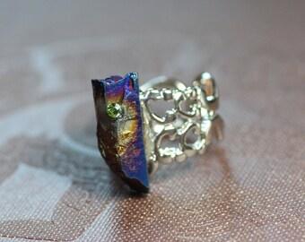 Blue Quartz Crystal Ring Silver Blue Gemstone Ring Quartz Point