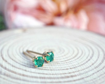 bliss - 3mm emerald earrings. green gemstone studs. tiny gem stud. solid gold or silver studs