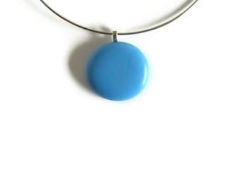 Sky Blue Gem Round Glass Pendant Necklace, Minimalist Jewelry, Statement Choker, Womens, Gifts for Her Under 25, Nugget Pendant, Neck Wire
