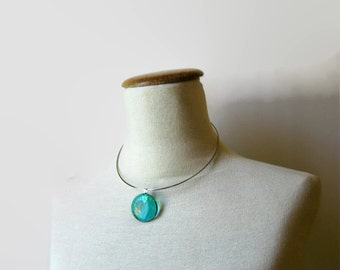 Teal Green Glass Pendant with Choker, Round Glass Gem Pendant, Woman Jewelry, Pendant Necklace, Neck Wire Choker, Gifts for Her Under 20.