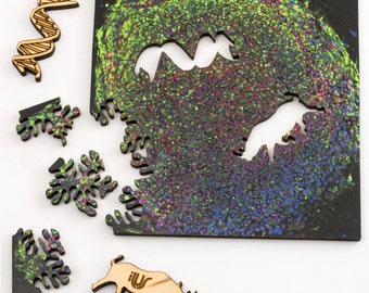 Northern White Rhino Puzzle - microscopic art jigsaw puzzle, laser cut wood