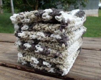 Crochet dish wash clothes set of 4 extra large in chocolate ombres