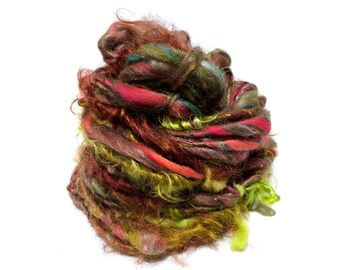 """Thick and thin yarn, bulky art yarn """"With Sprinkles"""" brown, cacao, teal, coral, lime, salmon, maroon, wine freeform knitting crochet weaving"""