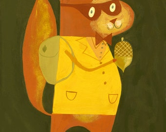 animal art print The little red squirrel bandit.  Limited edition 8.5 x 11 print by Matte Stephens.