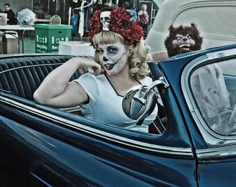 Red Skull Dia De Los Muertos Headband, Day of the Dead Headpiece, Flower Crown, Day of the Dead Headband, Day of the Dead Headdress