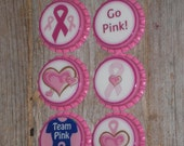 6 Hot Pink Sealed Bottle Caps Breast Cancer Awareness - Pink Ribbon  - Charms - Necklaces - Pendants - Zipper Pulls -  Ornaments