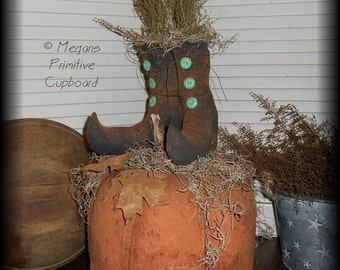 Primitive Fall Halloween Grungy Pumpkin Doll with Black Witch Boots Handmade Prim
