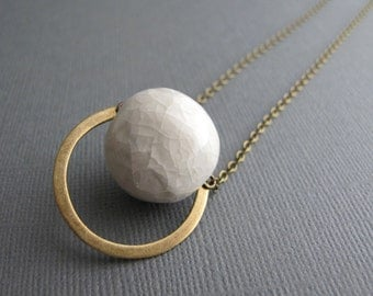 Minimalist Porcelain Pendant, Long Brass Chain, Geometric Necklace, White Bead Jewelry, Brass Semi Circle Pendant