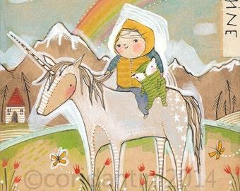 nursery artwork - child and unicorn - rainbow Cori Dantini 8 x 10 children's Room Decorating Ideas Archival Limited edition print watercolor