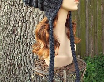 Charcoal Grey Hat Grey Ear Flap Hat Grey Slouchy Beanie - Charlotte - Grey Slouchy Hat Womens Accessories