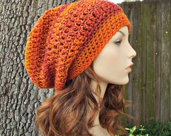 Orange Womens Hat Slouchy Beanie - Weekender Slouchy Hat Wildfire Orange Hat - Chunky Orange Beanie Womens Accessories - READY TO SHIP