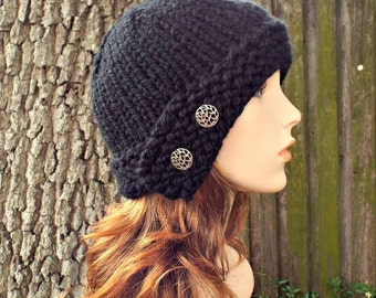 Black Womens Hat - Black Cloche Hat Black Knit Hat - Black Hat Black Beanie Womens Accessories Fall Fashion Winter Hat