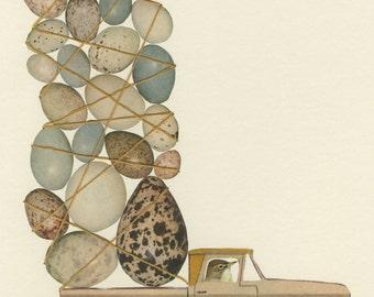 Eddie's eggs.   Limited edition print of an original collage by Vivienne Strauss.