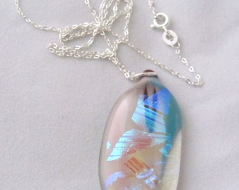 Fused Glass Pendant Necklace Blue White Copper Pink Clear Sterling Chain