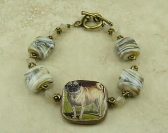 Pug Dog Decoupage & Lampwork Bead Swarovski Crystal Brass Ox Bracelet > Companion Lap Puppy Teacup Toy Breed Bull - I ship Internationally