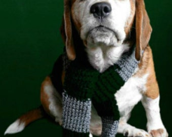 Green Gray wizard dog Scarf (Slytherin inspired)