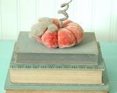 Vintage Velvet Pumpkin, Fall Decor, Autumn, Faded Peach Orange, Recycled Wool, Adjustable Wire Stem, Lana Manis / Honeysuckle Lane