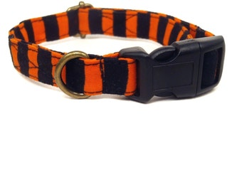 Boo Stripe - Halloween Organic Cotton CAT Collar Breakaway Safety - Orange Black Stripes - All Antique Brass Hardware