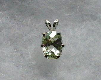 8x6mm Prasiolite Green Amethyst Gemstone in 925 Sterling Silver Pendant Necklace