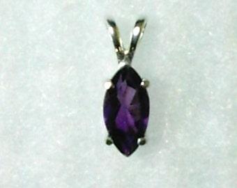 10x5mm Purple Amethyst Gemstone in 925 Sterling Silver Pendant Necklace