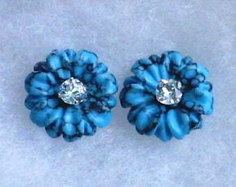 4mm Sky Blue Topaz Gemstone in 925 Sterling Silver Stud Earrings with 15mm Turquoise Flower Earring Jackets