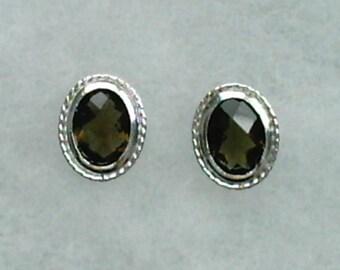 8x6mm Brown Smoky Quartz Gemstones in 925 Sterling Silver Backset Bezel Stud Earrings