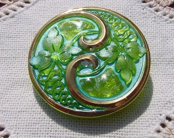 Art Nouveau Golden Lime Turquoise Floral Czech Glass Button