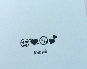 Emojicards: I Love You, single letterpress card