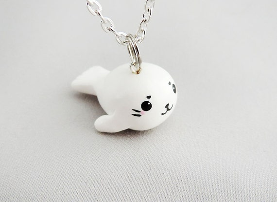 Cute Baby Harp Seal Pup Necklace Polymer Clay Charm