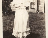 Vintage photo Snapshot 1917 Mother in Ruffles From Back Carries Straw Hat Baby Rear View