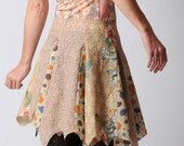 Beige patchwork skirt, Beige and pink pirate skirt, assorted vintage cotton patchwork in beige and florals, size FR 40/ UK 12