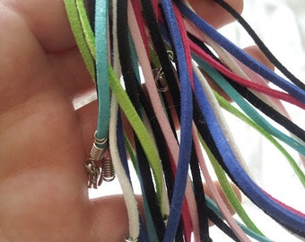 "20"" Vegan Suede Faux Leather Cord Necklace in Rainbow Colors or Black with Silver Lobster Clasp"