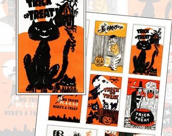 Vintage Halloween Trick or Treat digital download instant printable 3.5in  x 2.25 in 3.5x2.25