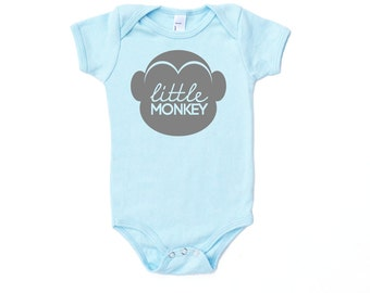 Little Monkey Cotton One Piece in Light Blue with Grey print - Baby Shower Gift, Adorable Newborn Tiny Human Present