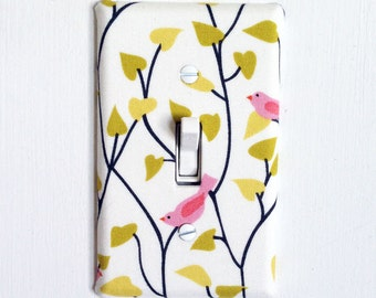 Fabric Covered Light Switch Plate Cover - simple pink birds on branches - All Styles - Double, Triple, GFCI, Outlet, Slider, Rocker, Toggle