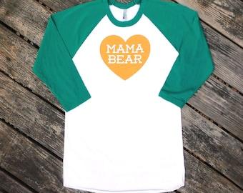 Mama Bear with Heart Evergreen Raglan Sleeve Baseball TShirt with Dark Mustard Yellow Ochre print