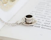 Silver Tea Cup Necklace, Alice in Wonderland, Gift For Tea Lover, Gift For Mom, Tea Cup Charm Necklace, Girlfriend Gift, Gift For Woman